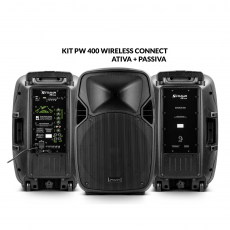 Kit Caixa de Som PW 400 Wireless Ativa + Passiva Bluetooth 800W RMS